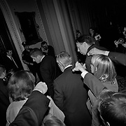 U.S. Senate Minority Leader Harry Reid walks toward the Senate floor entrance followed by reporters in the Ohio Clock Corridor on Capitol Hill in Washington D.C., USA.<br /> <br /> (Credit Image: © Louie Palu/ZUMA Press)