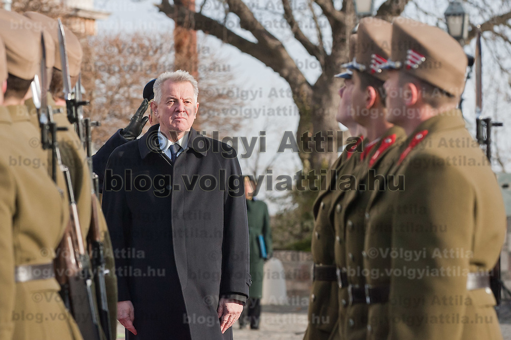 Pal Schmitt president of Hungary inspects the guard of honor as the  Palace Guards take over the formal guard in front of the Sandor's Palace used as the office of the President of Hungary in Budapest, Hungary on January 07, 2012. ATTILA VOLGYI
