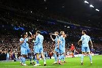 Football - 2021 / 2022 UEFA Champions League - Group A, Round One - Manchester City vs RB Leipzig - Etihad Stadium - Wednesday, 15th September 2021<br /> <br /> Nathan Ake of Manchester City celebrates scoring the opening goal with team mates to make the score 1-0