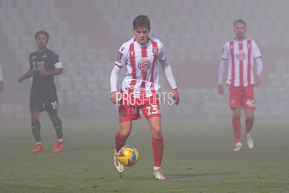 Stevenage midfielder Jack Smith(23) runs forward during the FA Cup match between Stevenage and Swansea City at the Lamex Stadium, Stevenage, England on 9 January 2021.