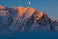 Sunrise and Moonset along the Haute Route on Mont Velan, Switzerland.