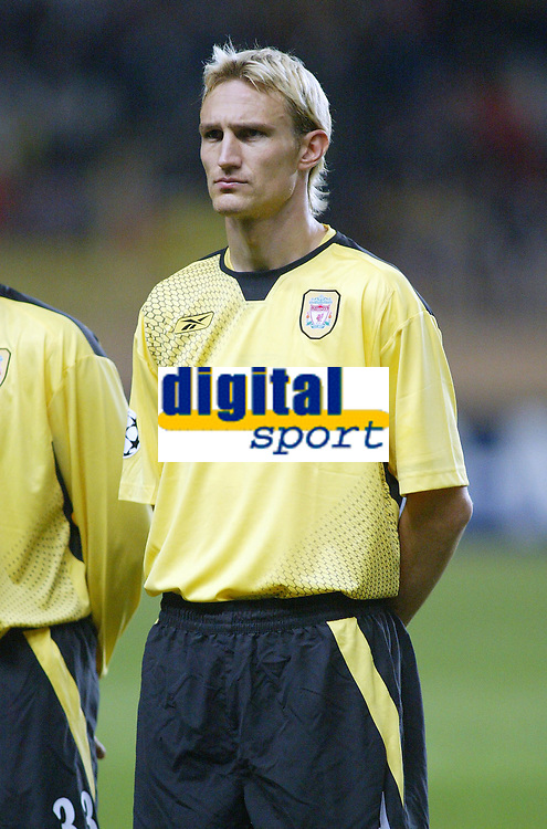 23/11/2004 - UEFA Champions League - Group A - AS Monaco v Liverpool  - Stade Louis II, Monte Carlo<br />Liverpool's Sami Hyypia<br />Photo:Jed Leicester/Back Page Images