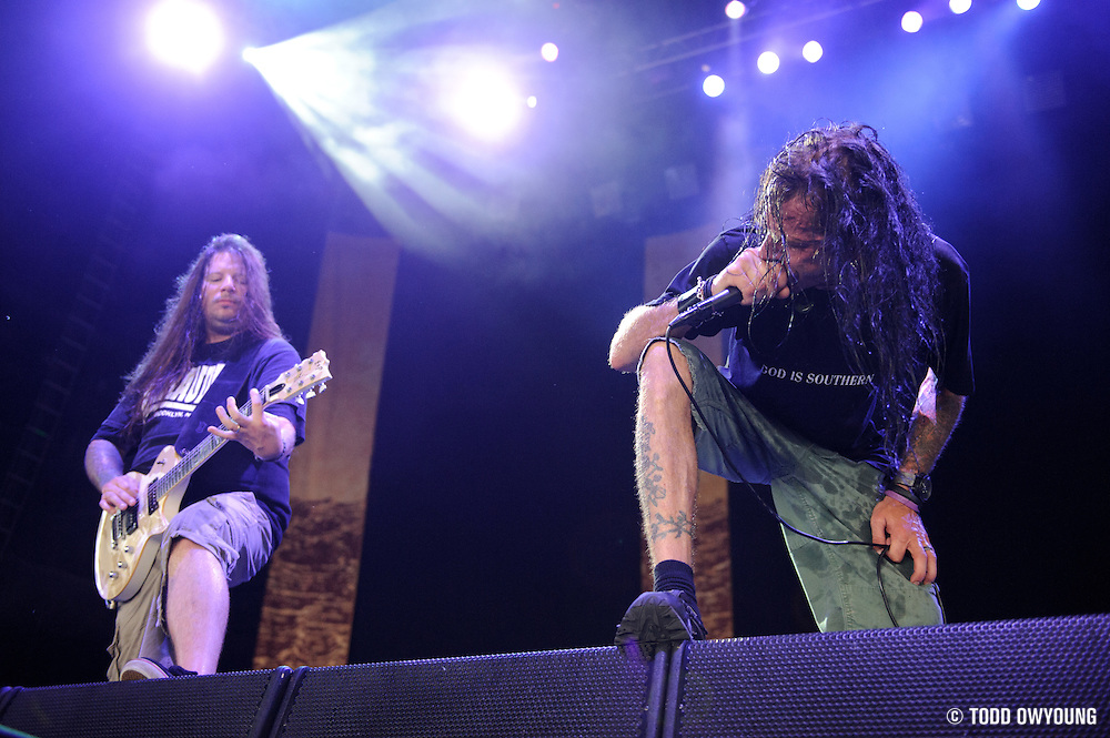 Lamb of God performing at Mayhem Fest 2010 on July 20 at Verizon Wireless Amphitheater in St. Louis