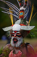 Villagers in traditional ceremonial dress for singsing at Payakona Village.  Western Highlands Province, Papua New Guinea.