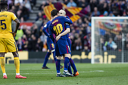 March 4, 2018 - Barcelona, Catalonia, Spain - 08 Andres Iniesta from Spain of FC Barcelona injured on his leg with 10 Leo Messi from Argentina of FC Barcelona during La Liga match between FC Barcelona v Atletico de Madrid at Camp Nou Stadium in Barcelona on 04 of March, 2018. (Credit Image: © Xavier Bonilla/NurPhoto via ZUMA Press)