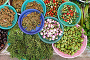 Vegetables including aubergines, pea aubergines, tomatoes and herbs for sale at Hua Kua market on the outskirts of Vientiane city, Lao PDR. A large variety of local products are available for sale in fresh markets all over Laos, all being sold on small individual stalls.