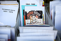 A 1986 Manchester United v Spurs programme on sale outside White Hart Lane before the final game at the stadium before it's closure for demolition and redevelopment - Rogan Thomson/JMP - 14/05/2017 - FOOTBALL - White Hart Lane - London, England - Tottenham Hotspur v Manchester United - Premier League.