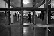 Officer Michael Bala locks down the inmates serving time.   The Bristol County Jail and House of Correction on Ash St. in New Bedford, MA was built in 1829 and is the oldest operating jail in the country.  Almost all of the inmates at the jail are awaiting trial date.  Eighteen of the inmates have been sentenced and are active in the maintenance of the facility.
