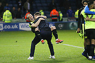 Joyful celebrations by the Huddersfield Town players during the EFL Sky Bet Championship play off second leg match between Sheffield Wednesday and Huddersfield Town at Hillsborough, Sheffield, England on 17 May 2017. Photo by John Potts.