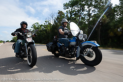 Marty Patterson (right) riding his 1946 UL Harley-Davidson beside his brother Pat in the Cross Country Chase motorcycle endurance run from Sault Sainte Marie, MI to Key West, FL. (for vintage bikes from 1930-1948). Stage-9 covered 259 miles from Lakeland, FL to Miami, FL USA. Saturday, September 14, 2019. Photography ©2019 Michael Lichter.