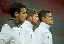 KAZAN, RUSSIA - Wednesday, November 4, 2015: Liverpool's Pedro Chirivella, Alberto Moreno and Philippe Coutinho Correia training at the Kazan Arena ahead of the UEFA Europa League Group Stage Group B match against FC Rubin Kazan. (Pic by Oleg Nikishin/Propaganda)