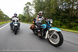 Jody Perewitz riding her 1936 Harley-Davidson VLH with Jason Sims just behind during the Cross Country Chase motorcycle endurance run from Sault Sainte Marie, MI to Key West, FL. (for vintage bikes from 1930-1948). 287 mile ride of Stage-8 from Tallahassee to Lakeland, FL USA. Friday, September 13, 2019. Photography ©2019 Michael Lichter.