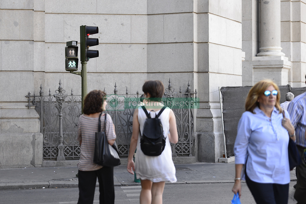 June 5, 2017 - Madrid, Madrid, Spain - Madrid city council has installed the first pedestrian crossing lights of equality with the image of man or woman and man-woman couple and inclusive, male-male couples, and female-female couples. The initiative is part of the celebration of the World Pride and traffic lights will remain after event. (Credit Image: © M.RamíRez/Pacific Press via ZUMA Wire)