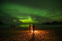 Group stands around beach campfire with northern lights overhead, Flakstadøy, Lofoten Islands, Norway