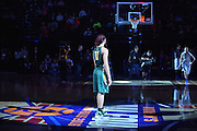 April 4, 2016; Indianapolis, Ind.; Megan Mullings watches on as a member of the Lubbock Christian team is introduced before the NCAA Division II Women's Basketball National Championship game at Bankers Life Fieldhouse between UAA and Lubbock Christian. The Seawolves lost to the Lady Chaps 78-73.