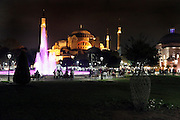 the illuminated Hagia Sophia Istanbul Turkey