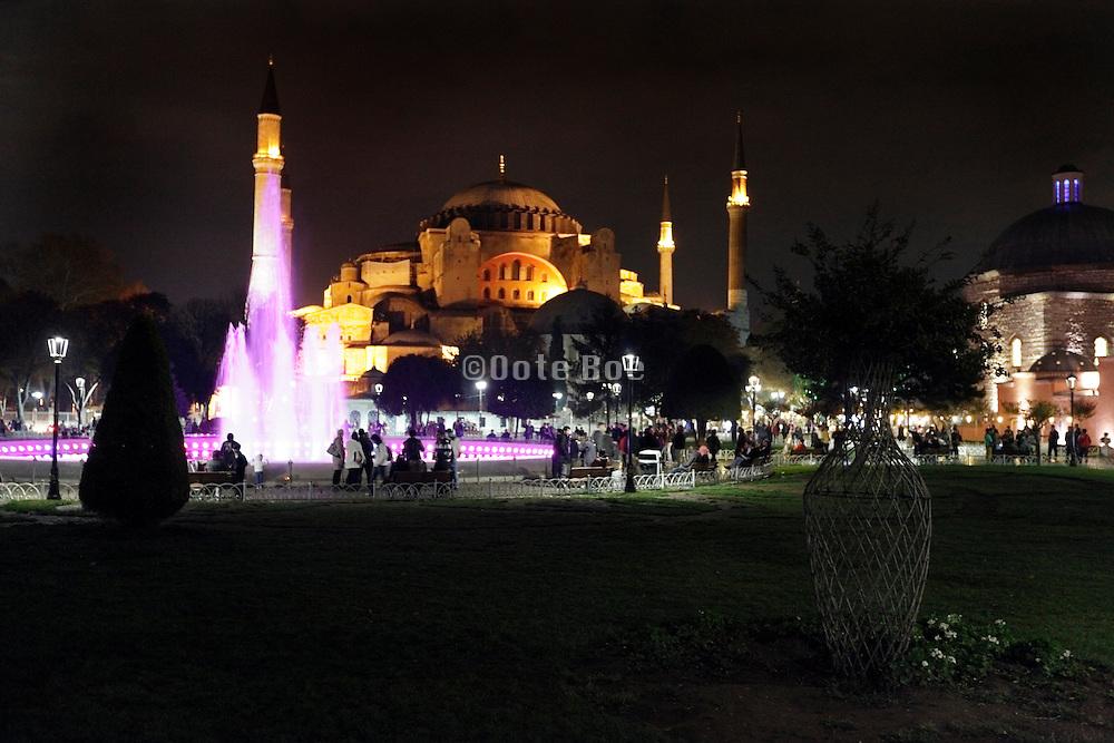the illuminated Hagia Sophia Istanbul Turkey