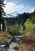 At Iceberg Lake on the Chain Lakes Loop Trail, view Mount Baker (summit 10,781 feet), in Mount Baker Wilderness, Washington, USA.