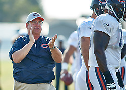 July 28, 2018 - Bourbonnais, IL, U.S. - BOURBONNAIS, IL - JULY 28: Chicago Bears Offensive Line coach Harry Hiestand coaches the Chicago Bears offensive line players in drills during the Chicago Bears training camp on July 28, 2018 at Olivet Nazarene University in Bourbonnais, Illinois. (Photo by Robin Alam/Icon Sportswire) (Credit Image: © Robin Alam/Icon SMI via ZUMA Press)