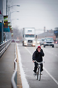 At less than 20 degrees it must have been cold out there riding a bicycle with no gloves. Missoula Photographer, Picture of Missoula
