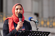 San Francisco, USA. 19th January, 2019. The Women's March San Francisco begins with a rally at Civic Center Plaza in front of City Hall. Maimona Afzal Berta, the first visible hijabi Muslim and youngest woman in an elected leadership role in San Jose and all of Santa Clara County, addresses the crowd. As an educator and elected member of the Franklin-McKinley Board of Education, she advocates for state legislation and trained educators on fostering safer schools. Credit: Shelly Rivoli/Alamy Live News