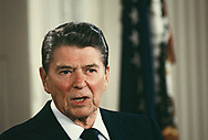 President Roanld Reagan held in the East Room of the White House in May 1986<br />Photo by Dennis Brack