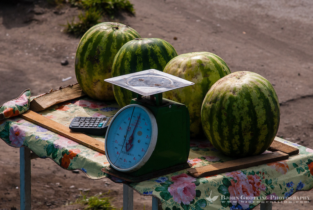 Russia, Sakhalin. Kholmsk is an important sea port for the island of Sakhalin. Mini-market.