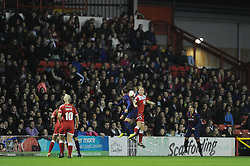 Bristol Academy Womens' Grace McCatty and FC Barcelona's Maria Victoria Losada challenge for the header in front of a large support - Photo mandatory by-line: Dougie Allward/JMP - Mobile: 07966 386802 - 13/11/2014 - SPORT - Football - Bristol - Ashton Gate - Bristol Academy Womens FC v FC Barcelona - Women's Champions League
