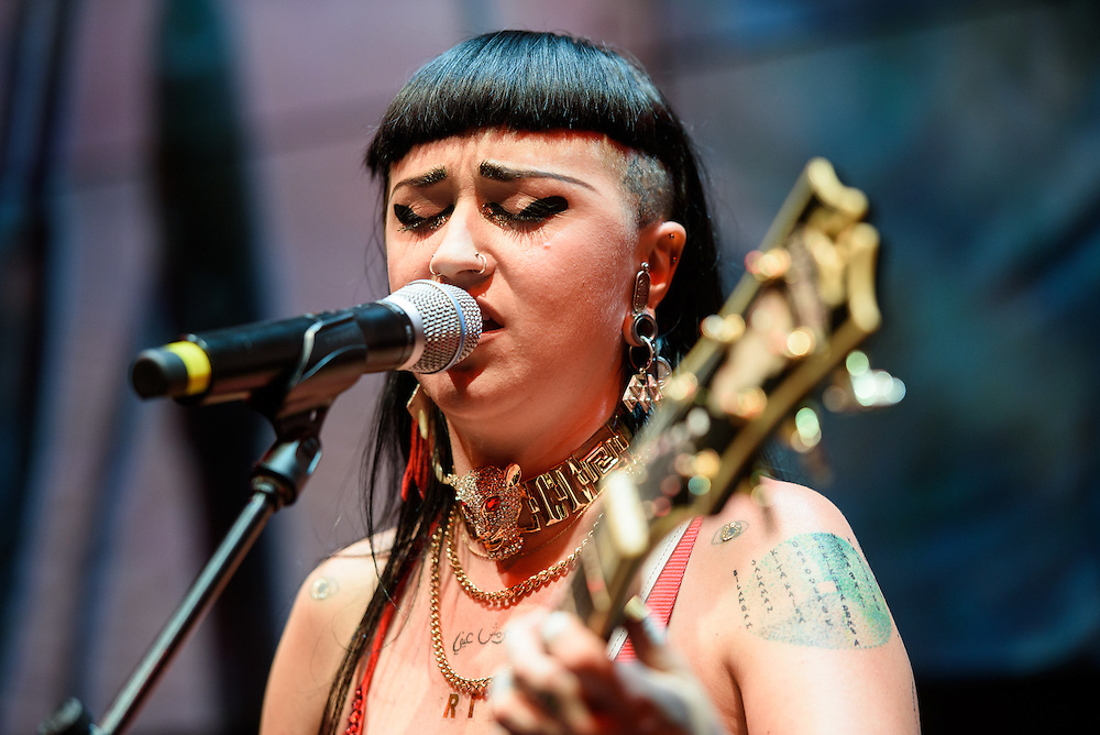 Photos of the musician Nai Palm of the band Hiatus Kaiyote performing live on stage for Samsung Pay X MasterCard at Samsung 837, NYC on July 19, 2016. © Matthew Eisman/ Getty Images. All Rights Reserved