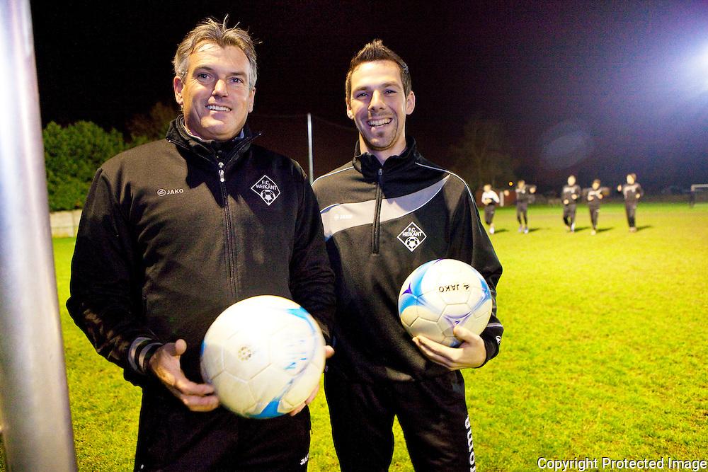 369619- Rudy Van Hout en Jef Bruynseels, kapitein en trainer van FC Heikant-Melkouwensesteenweg Berlaar-Heikant