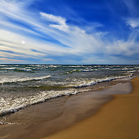 """""""Sky Light Sky Bright""""<br /> <br /> Bright, brilliant, and vast! A beautiful scenic Lake Michigan waterscape!!<br /> <br /> The Great Lakes by Rachel Cohen"""