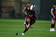 Gavin Henson of the Dragons kicks a penalty.  Guinness Pro14 rugby match, Dragons v Southern Kings at Rodney Parade in Newport, South Wales on Saturday 30th September 2017.<br /> pic by Andrew Orchard, Andrew Orchard sports photography.