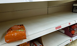 © Licensed to London News Pictures. 15/10/2021. London, UK. An empty shelf of breakfast cereal in Sainsbury's, north London, amid fears of food shortages. The Government and retailers warn that food shortages could continue until Christmas due to labour shortages, following Brexit. Study research, conducted by delivery management experts Urbantz, reports that one in six Londoners reported that when they went food shopping, items they needed were not available and they could not find a replacement, while half of respondents said there was less variety of food in the shops than usual. Another 1-in-6 London residents were also unable to purchase fuel in the last fortnight. Photo credit: Dinendra Haria/LNP