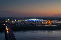 June 17, 2018 - Nizhny Novgorod, RUSSIA - 180617 Exterior view of Nizhny Novgorod Stadium and Alexander Nevsky Cathedral during the FIFA World Cup on June 17, 2018 in Nihzny Novgorod..Photo: Joel Marklund / BILDBYRÃ…N / kod JM / 87710 (Credit Image: © Joel Marklund/Bildbyran via ZUMA Press)