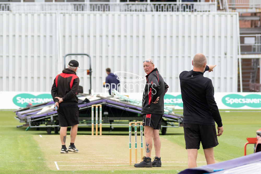 Mopping up complete at Grace Rd during the Specsavers County Champ Div 2 match between Leicestershire County Cricket Club and Lancashire County Cricket Club at the Fischer County Ground, Grace Road, Leicester, United Kingdom on 25 September 2019.