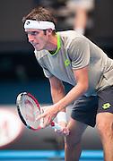 Argentinian Leonardo Mayer took on defending Australian Open Champion Novak Djokovic (SRB) in third day, second round play. Djokovic beat Mayer 6-0, 6-4, 6-4 at Melbourn's Rod Laver Arena.