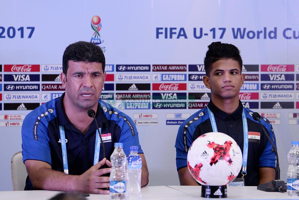 October 7, 2017 - Kolkata, West Bengal, India - Iraqi football team coach Qahtan Jathir (left) and captain Saif Khalid (right) during a press conference ahead of FIFA U 17 World Cup on October 7, 2017 in Kolkata. (Credit Image: © Saikat Paul/Pacific Press via ZUMA Wire)