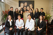 Dr. Nancy Ocampo Watanabe, Dr. Gerald S. Watanabe, and their team pose for a portrait at Capitol Square Dental Care in San Jose, California, on April 4, 2013. (Stan Olszewski/SOSKIphoto)