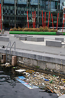 Pollution in the canal at Grand Canal Dock in Dublin Ireland