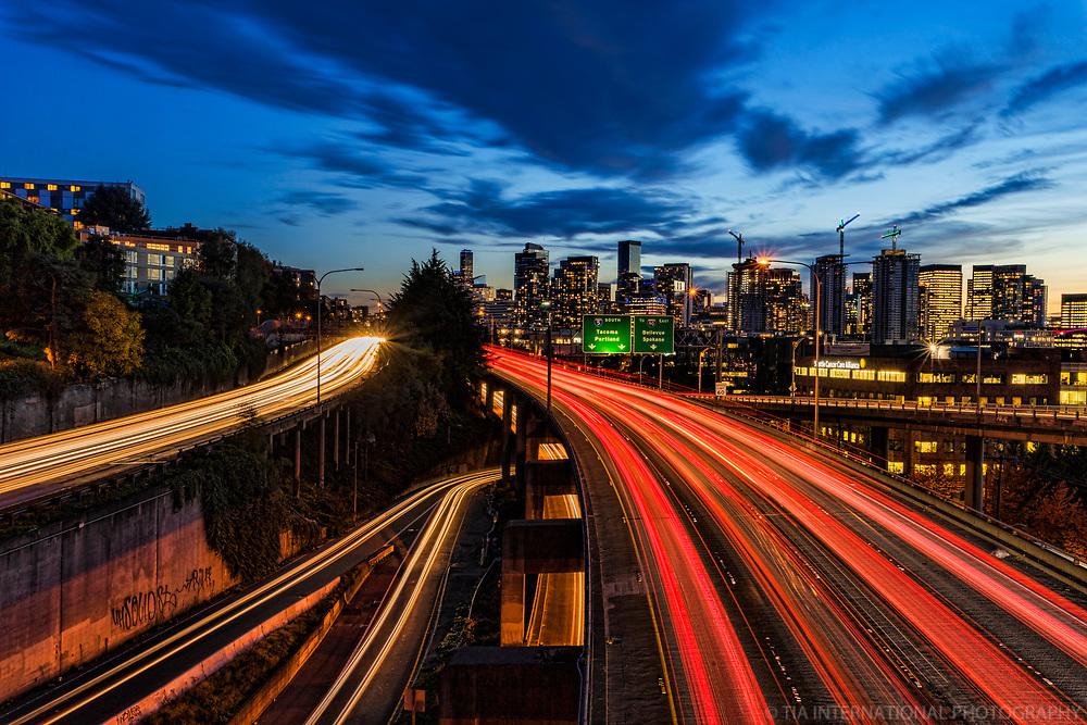 November Twilight / Interstate 5, Seattle