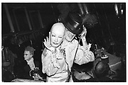 Baroness Francesca Thyssen with mask at the Chelsea Arts Ball, Royal Albert Hall. 11 October 1985. © Copyright Photograph by Dafydd Jones 66 Stockwell Park Rd. London SW9 0DA Tel 020 7733 0108 www.dafjones.com