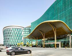 Modern architecture of Meydan Hotel in Dubai United Arab Emirates