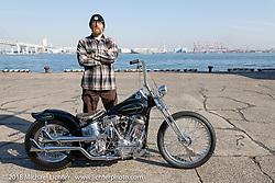 Invited builder Dynamite Joe Kerivan picking up his custom 1957 Harley-Davidson Panhead at the docks on setup day for the 27th Annual Mooneyes Yokohama Hot Rod Custom Show 2018. Yokohama, Japan. Saturday, December 1, 2018. Photography ©2018 Michael Lichter.