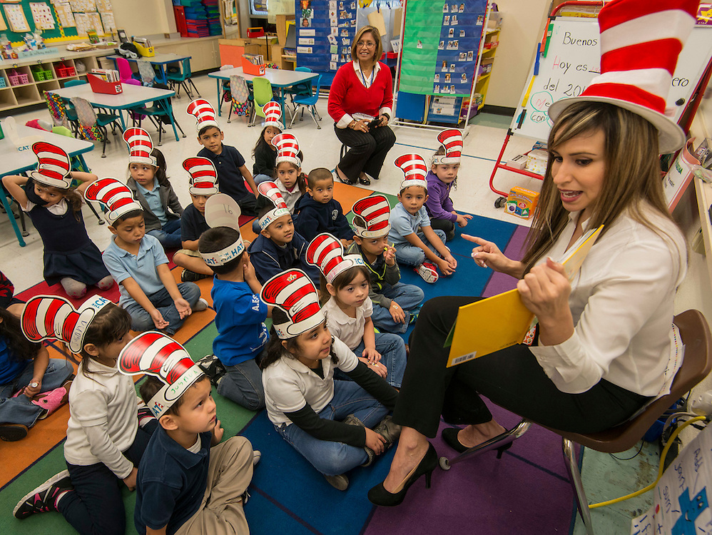 Volunteers gather to share Dr. Suess stories during Read Across America program at Anderson Elementary School, March 2, 2017.