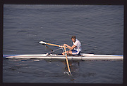 London. United Kingdom.  GBR M1X. Steven REDGRAVE. 1990 Scullers Head of the River Race. River Thames, viewpoint Chiswick Bridge Saturday 07.04.1990<br /> <br /> [Mandatory Credit; Peter SPURRIER/Intersport Images] 19900407 Scullers Head, London Engl