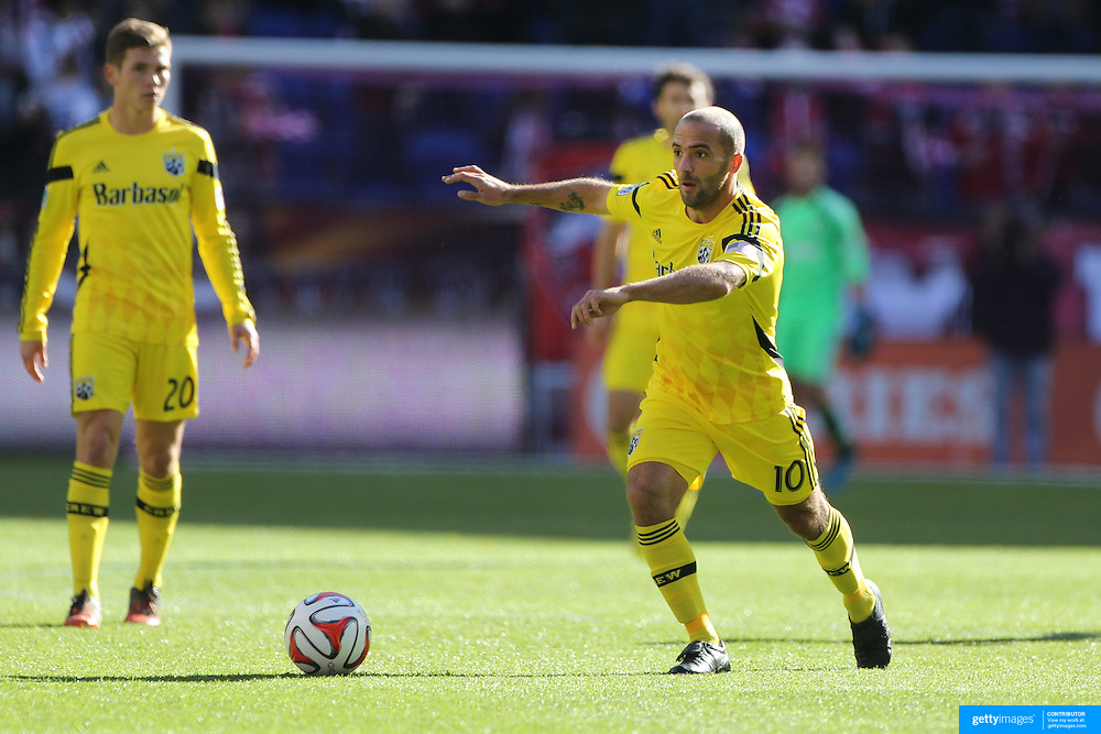 Federico Higuain, Columbus Crew, in action during the New York Red Bulls Vs Columbus Crew, Major League Soccer regular season match at Red Bull Arena, Harrison, New Jersey. USA. 19th October 2014. Photo Tim Clayton