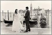 Newlywed bride and groom