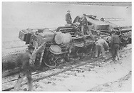 RGS class 60 locomotive overturned on its right side.<br /> RGS