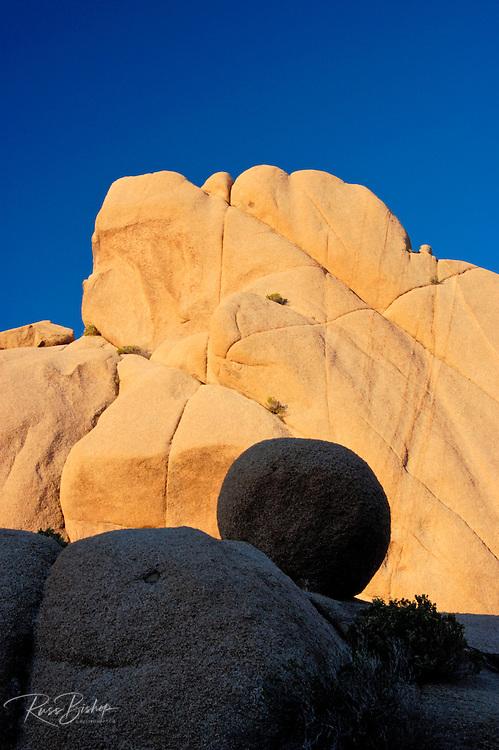 Morning light on rock formations at Jumbo Rocks, Joshua Tree National Park, California