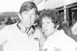L to R): Ken Tyrrell (GBR) Tyrrell Team Owner talks with Jody Scheckter (RSA) Tyrrell, who finished the race in seventh position..South African Grand Prix, Rd 2, Kyalami, South Africa, 30 March 1974. (Credit Image: ©Sutton Motorsports/ZUMA Press)